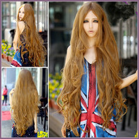 100 cm Sexy fashion queen hair Products Manic Panic Lace Front Curly Wigs Long bangs Blonde Curly Hair Synthetic Wigs European Femme Anime Cosplay Wigs