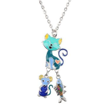 Statement Chain Enamel CAT Mouse Fish Cartoon Necklace Pendant Fairy Tale Fashion Jewelry For Women Girl Kids Gift Charms