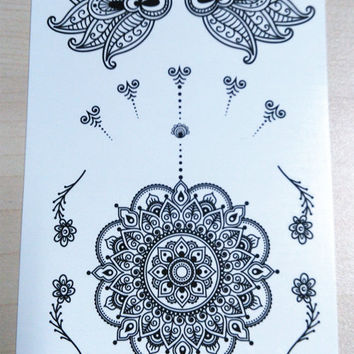 perfectly round circles  Mandala Temporary Tattoo  Ethnic Art  Mandala Large Temporary Tattoo Buddhism Black  Geometric Art for hand tattoo