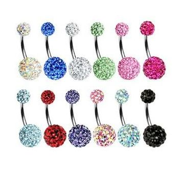 2017 Trendy Crystal Double Disco Ball Ferido Belly Bar Navel Belly Button Ring Shamballa Belly Ring Piercing jewelry 10mm BE398