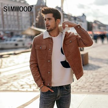 SIMWOOD New 2018 Winter Men Jackets Fashion Casual Thick Warm Faux Shearling-lined