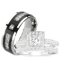 3 Pieces Men's Women's, His & Hers, 925 Sterling Silver & Titanium Engagement Wedding Ring Set (Size Men's 10 Women's 7)
