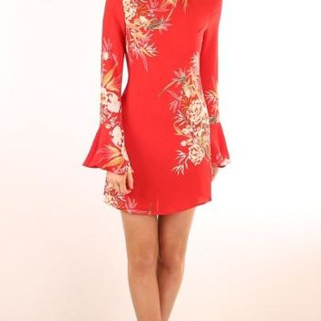 Red Bell Sleeve Printing Women's Sheath Dress