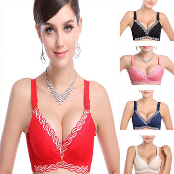 3/4 cup push up small cup back closure bras sexy beauty lady underwear of super thick bra for women