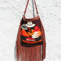 Mexican fringed leather shopper bag southwestern navajo gypsy native boho bohemian tote bag fringes blanket kilim bag