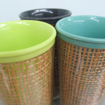 Vintage Raffiaware Tumblers Melmac Cups Set of 3 Glasses Beach Themed Decor