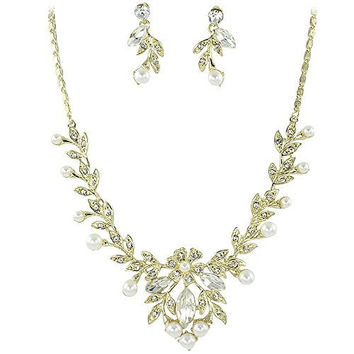 Stunning Vine Bridal Wedding Cream Pearl Necklace Earring Set Gold Tone W Bling CH5
