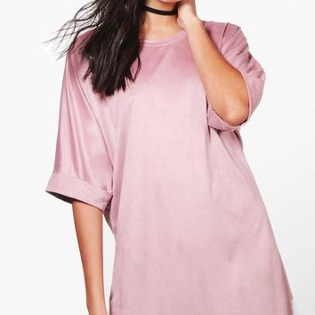 Abi Suedette Oversized T-Shirt Dress | Boohoo
