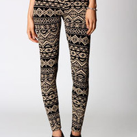 Jade Stone & Black Aztec Print Leggings