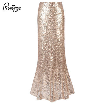 Women Sexy Vintage Long Maxi Sequined Skirt Trumpet Solid High Waist Plus Size Ladies Party Club Mermaid Skirts