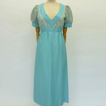 VINTAGE 1970s JEAN VARON COLUMN MAXI DRESS 10