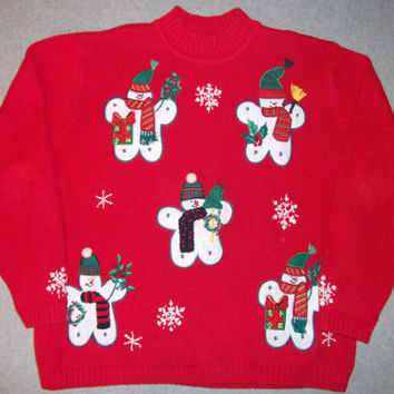 Clones Cloning Snowmen Snowman Hipster Sweater Tacky Gaudy Ugly Christmas Sweater Party X-Mas Warm Winter 1X XL Extra Large