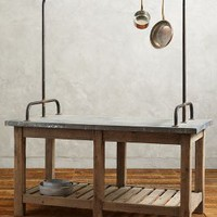 Zinc-Topped Kitchen Island by Anthropologie Neutral One Size Furniture