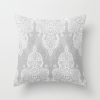 Lace & Shadows 2 - Monochrome Moroccan doodle Throw Pillow by Micklyn