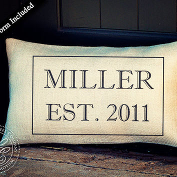 Personalized French Country Wedding Pillow - Last Name and Established Date