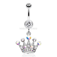 Crown Jewel Multi-Gem Belly Button Ring (Clear)