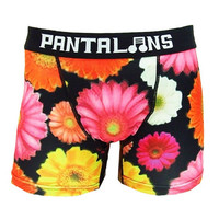 Fun inkjet printed boxer pants, brief underwear, pink, yellow, white, orange flower daisy gerbera. Perfect gift for him