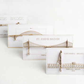 Set of Four 3D Cards of  Portland Oregon Bridges - laser cut models