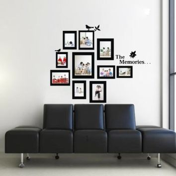 Olivia 23.6 X 28.7-Inch DIY Removable Vinyl Wall Decal Stickers, The Memories Quote Photo Frame Collage Birds Leaf, Black