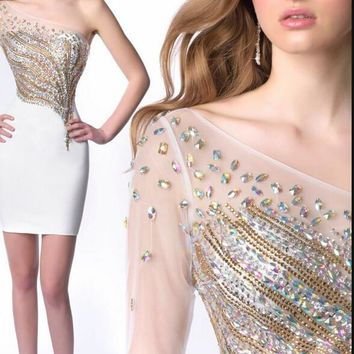 2015 little blue short beading crystals cocktail dresses petite sweetheart sheath glitter petite chic cocktail gowns