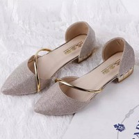 Metal Pointed Toe Shiny Wedge Heel Shoes