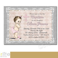 Pink Gray Lace Burlap - Vintage Baby Girl - Baptism Invitation - 5x7 christening, dedication, Distressed Chic - Printable Invitation Design