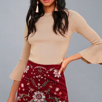 Mountain High Burgundy Embroidered Corduroy Mini Skirt