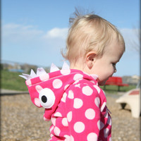 Pink and White Polka Dot Toddler Monster Hoodie  24 by punksyshop