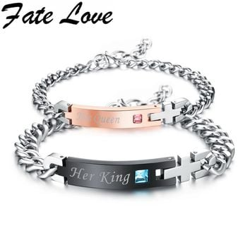 "Fate Love""His Queen""""Her King""Couple Bracelet with Crytal Stone Boyfriend Girlfriend Lover Jewelry Exquisite Gift Dropship GS884"