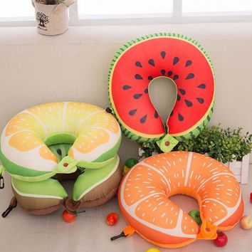 Hot Fruit U Shaped Travel Pillow Nanoparticles Car Neck Pillow Watermelon Lemon Kiwi Orange Pillows Soft Cushion Home Textile