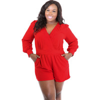 Plus Size Red Pleated Long Sleeves Romper LAVELIQ