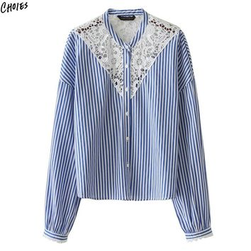 Blue Stripe Panel Lace Shirt Women Long Sleeve Round Neck Buttons Up Front Drop Shoulder High Street Fashion Fall Top Wear
