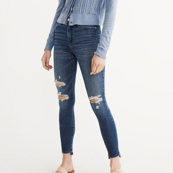 Womens High Rise Ripped Super Skinny Jeans | Womens Bottoms | Abercrombie.com