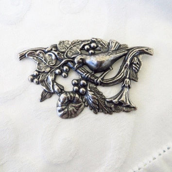 Antique Art Nouveau Brooch Sterling Silver Pin Bird Flowers Berries and Leaves Nature Jewelry