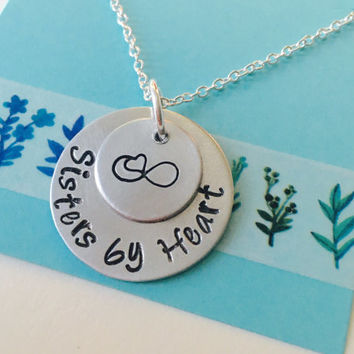 Best Friend, Sisters by Heart Necklace, Best Friend Necklace, Not by blood, Sisters by Heart, Best Friend Gift
