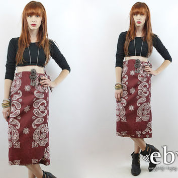 Vintage 70s High Waisted Bandana Print Wrap Skirt XS S Hippie Skirt High Waisted Skirt Midi Skirt Bandana Skirt Knee Skirt Hippy Skirt