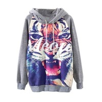 Juice Action Women's Pullover Long Sleeve Tiger Print Hooded Sweatshirt Gray