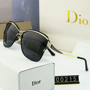 Dior Popular Women Men Casual Cool Summer Sun Shades Eyeglasses Glasses Sunglasses Black+Golden Frame I-A-SDYJ