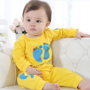 Yellow Cute Baby Boy Clothing Sets Children's T-Shirts+Pant Suit bebe boy clothes Outfits 80 90 100 Cheapest
