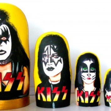 Nesting doll Kiss 5 pcs Russian matryoshka doll Kiss made non-toxic materials conventional  gouache  paint water-based lacquer wood 6.7 inch