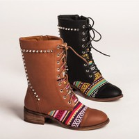 Bohemian Vintage Distressed Lace Up Rivet Mid Calf Boots for Women