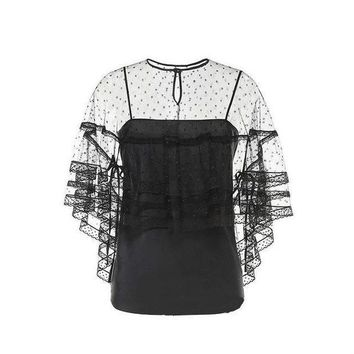 ICIKON3 Womens tops two pieces blouse Elegant dots mesh perspective lace half sleevesfemale shirts night club top