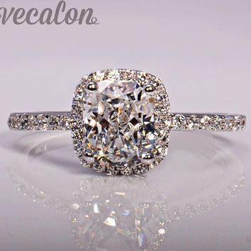 Vecalon fashion Jewellry Design wedding Band ring for women cushion cut 3ct Cz diamond 925 Sterling Silver Female Finger ring