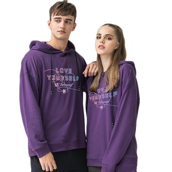KPOP BTS Bangtan Boys Army 2018  Love Yourself Answer Hoodie Sweatshirts for Couples High Quality 100% Cotton Hooded Pullovers Tops Harajuku Plus Size AT_89_10