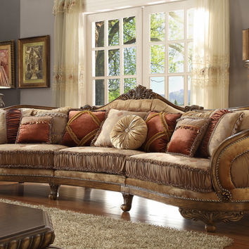 Homey Design HD-458 Traditional Vienna Wood Trim Mansion Sofa