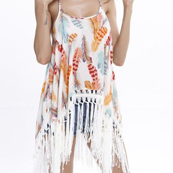 Streetstyle  Casual Spaghetti Strap Asymmetric Hem Fringe Crochet Feather Printed Tunic