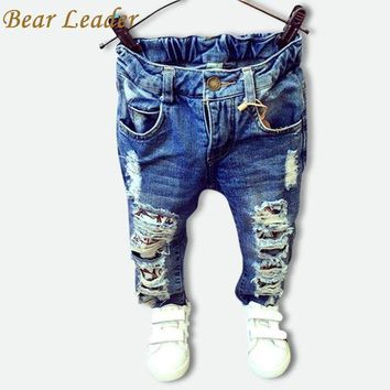 PEAP78W Bear Leader Children Broken Hole Pants Trousers 2016 Baby Boys Girls Jeans Brand Fashion Autumn 2-7Y Kids Trousers Clothes