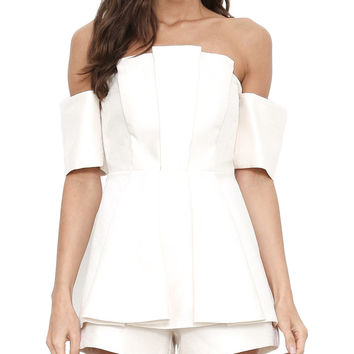 Pearlized White Pleated Off-the-Shoulder Romper