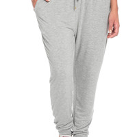 Comfy Drawstring Jogger Pants in Heather Grey