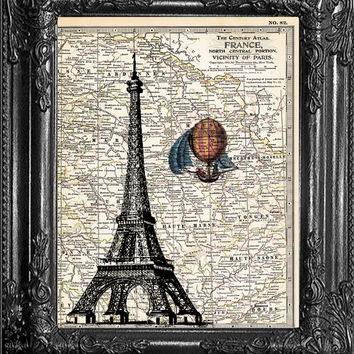 Dictionary Print-Eiffel Tower Print On Paris Map-Hot Air Balloon Art-Home Dorm Wall Decor- Antique Book Page-Print On Dictionary Book Page